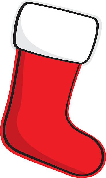 A cartoon of a Christmas stocking Vector illustration of a Christmas stocking. christmas stocking stock illustrations