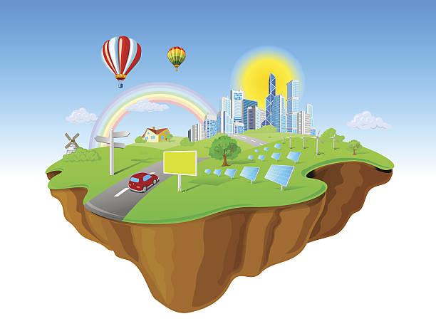 Cartoon of a city island flying in the sky vector art illustration