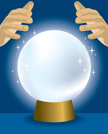 Cartoon of a crystal ball with hands hovering over it