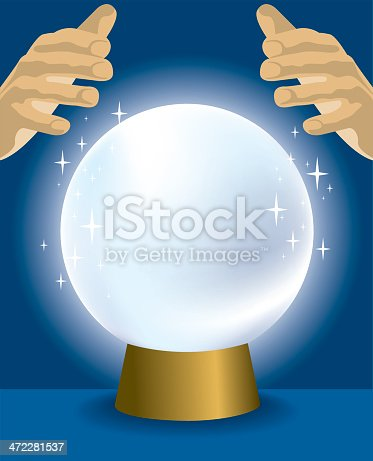 Vector illustration of a pair of hands with crystal ball. Highlight your message, logo in the middle of the ball.