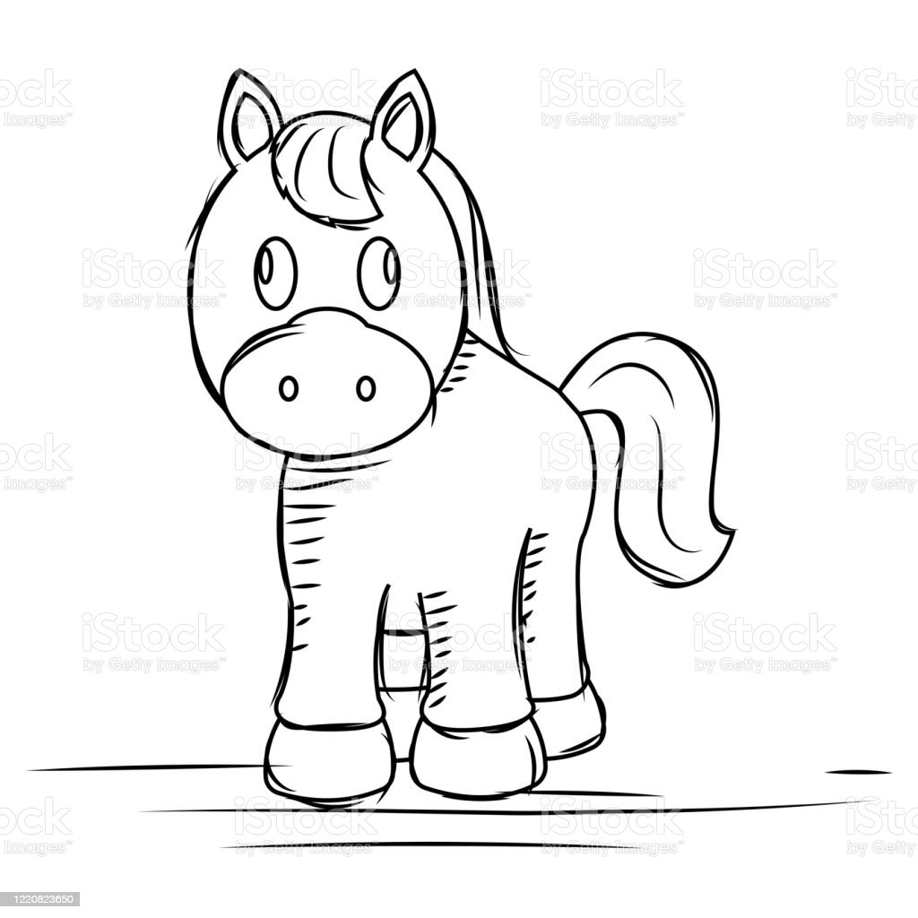 Cartoon Of A Cute Horse Sketch Stock Illustration Download Image Now Istock