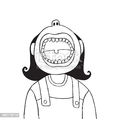 A Cartoon Of A Cute Young Girl With Her Mouth Wide Open