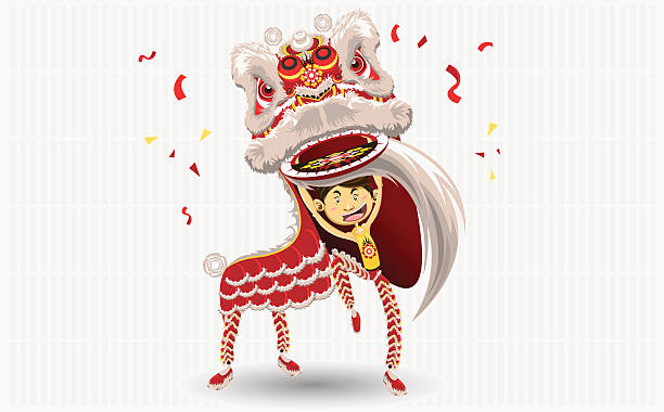 A cartoon of a dancing Chinese lion vector art illustration
