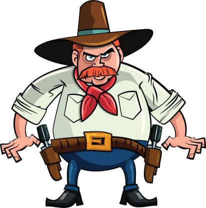 Cartoon of a fat cowboy gunslinger