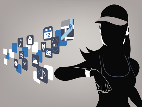 Cartoon of a fitness lady with smart watch devices and apps