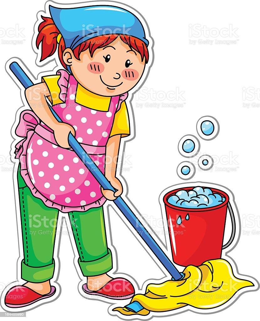 Cartoon of a girl mopping the floor stock vector art for Boden cartoon
