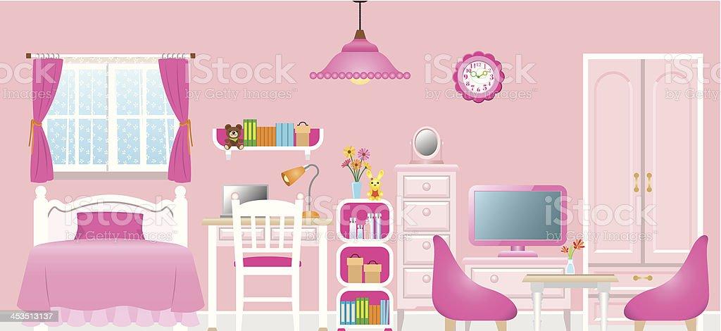 Cartoon of a girl's pink themed room vector art illustration