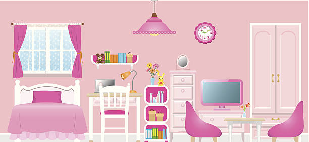 Cartoon of a girl's pink themed room Image illustration of a room girl bedroom stock illustrations