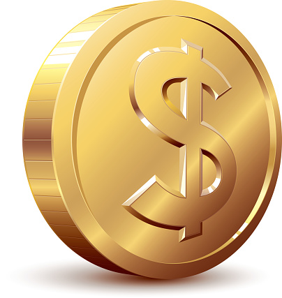 A cartoon of a golden dollar coin