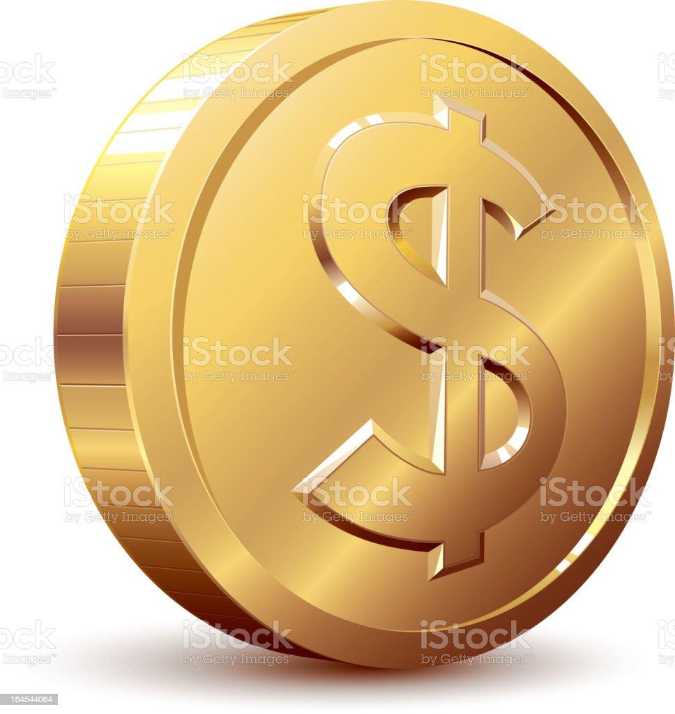 A cartoon of a golden dollar coin vector art illustration