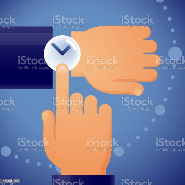 Cartoon of a hand checking his watch on blue background vector id469931965?b=1&k=6&m=469931965&s=612x612&h=2g17cmghbxkvrrzexyaevshbwfkalrinudbseb ekyg=