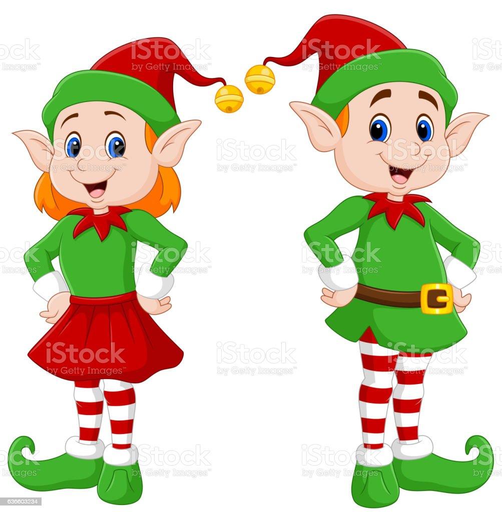 Cartoon Of A Happy Christmas Elf Couple Stock Vector Art & More ...