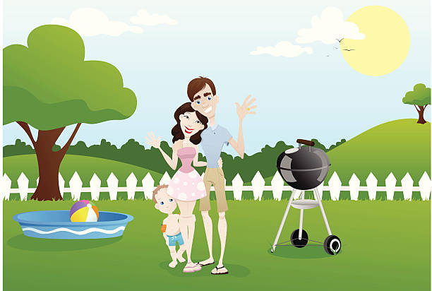 Cartoon of a happy family outside with a baby pool and grill vector art illustration