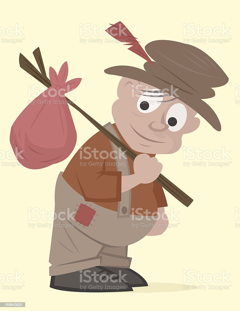A cartoon of a homeless man with his belongings  vector art illustration