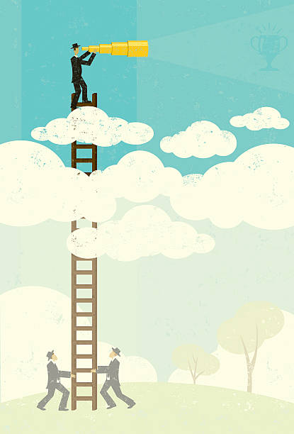 Cartoon of a man climbing a ladder to see above the clouds A businessman vaguely seeing his goal in the future with a telescopic spyglass above the clouds. Businessmen, below in the fog, help by holding his ladder. The people and ladder and background are on separate labeled layers. RETROROCKET stock illustrations