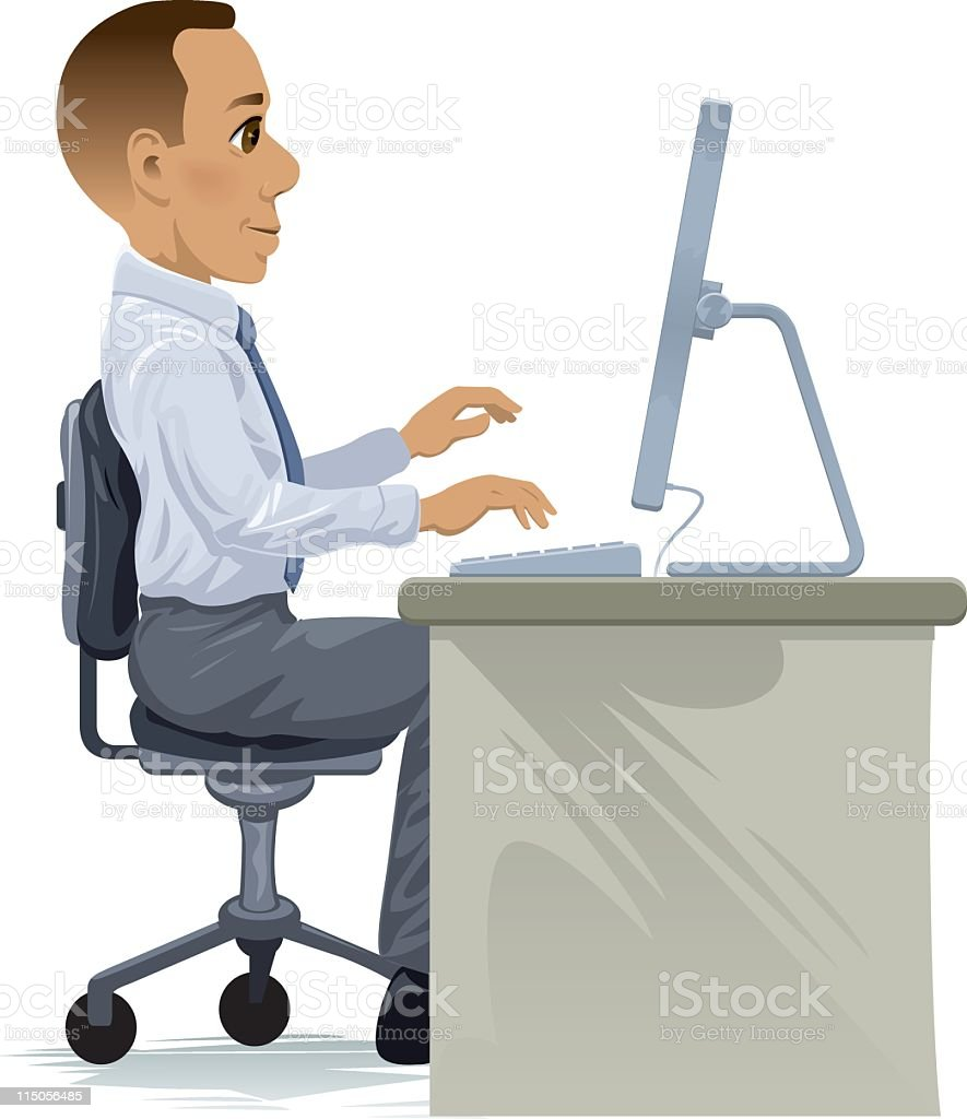 Cartoon of a man in business clothes sitting at a desk
