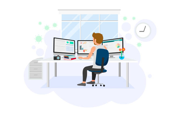 ilustrações de stock, clip art, desenhos animados e ícones de cartoon of a man is sitting to work from home in front of computer - young girl computer home front