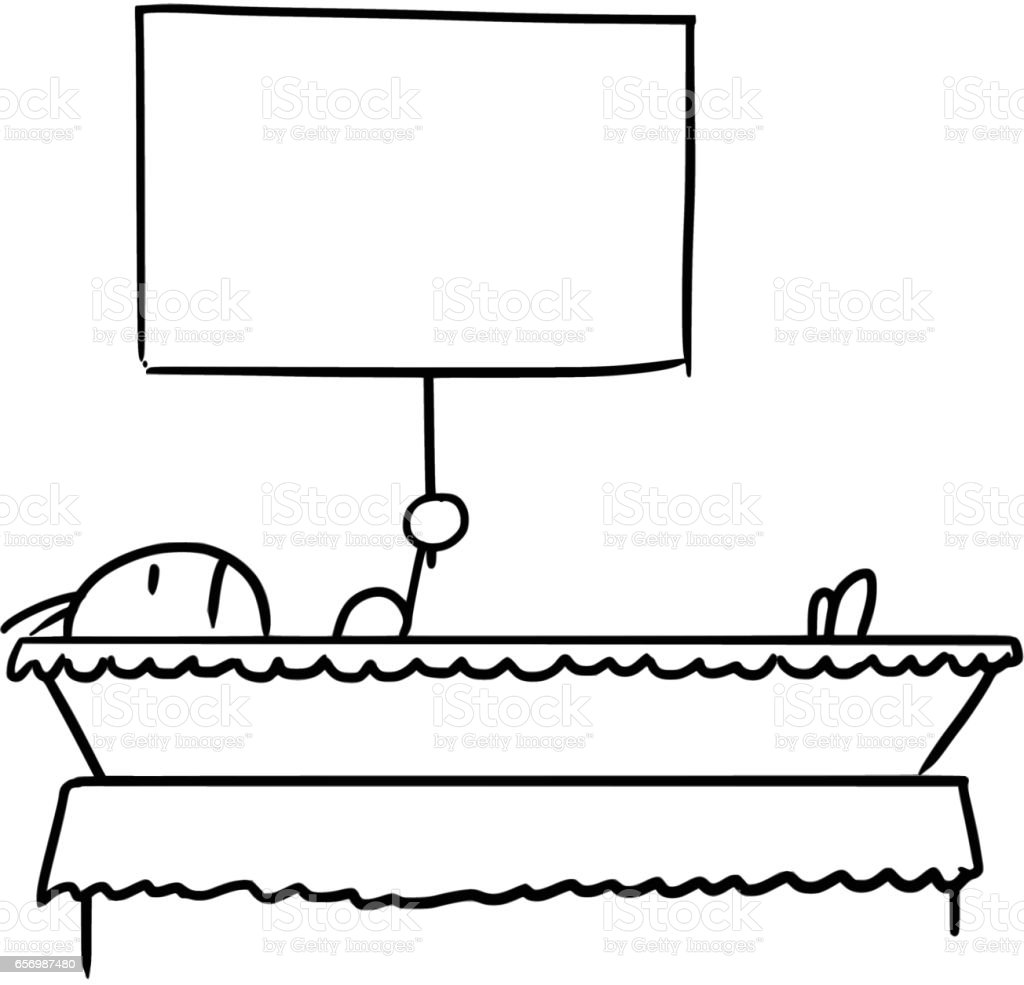 Cartoon of a Man Lying in the Coffin Holding A Sign vector art illustration