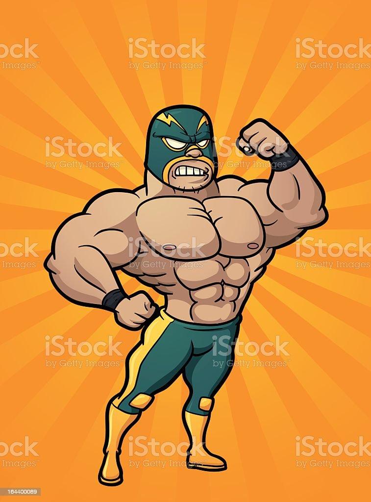 A cartoon of a Mexican wrestler vector art illustration