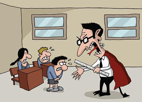 Cartoon of a monster teacher in school