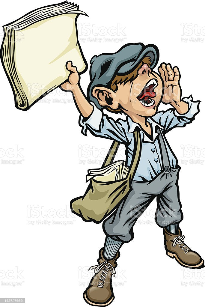 Cartoon of a paperboy yelling the news royalty-free stock vector art