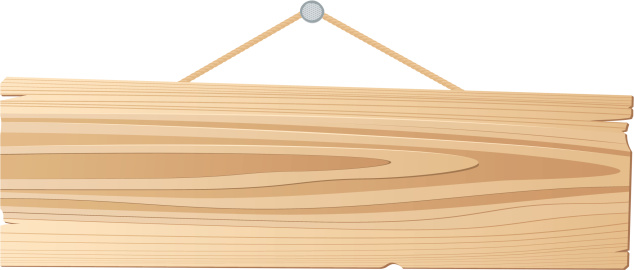 A cartoon of a plank sign hanging from a nail