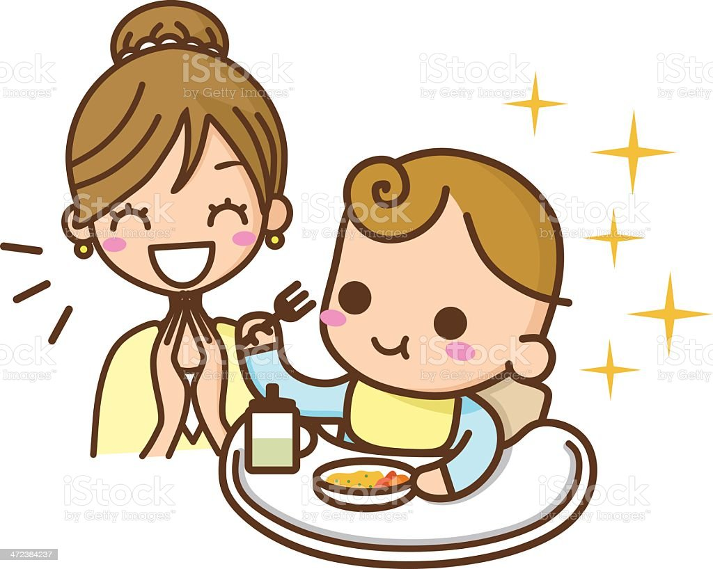 a cartoon of a pleased mother as a baby eats his food royalty free stock - Cartoon Picture Of A Child