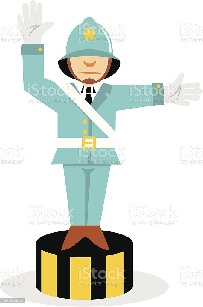 Cartoon of a policeman in blue directing on a circular stand vector art illustration