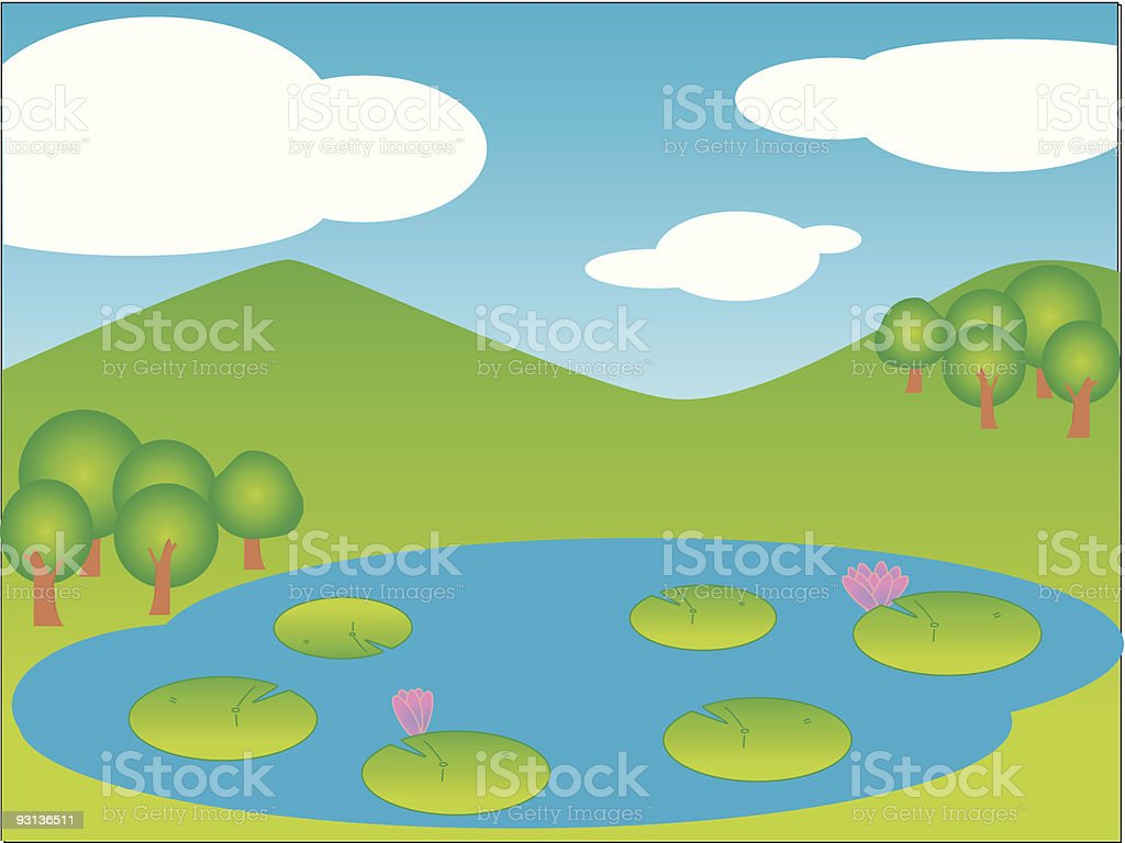 Cartoon of a pond with lily pads in front of mountains royalty-free cartoon of a pond with lily pads in front of mountains stock vector art & more images of amphibian