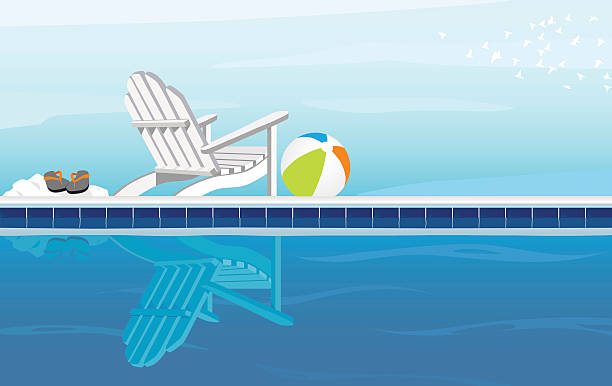 A cartoon of a pool on a cloudy day Relaxing depiction of swimming pool and Adirondack Chair; With Flip Flops, beach ball and a flock of birds adirondack chair stock illustrations
