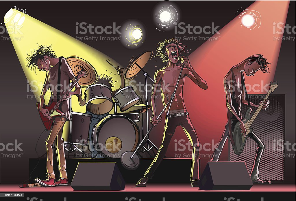 Cartoon of a rock band on stage royalty-free stock vector art