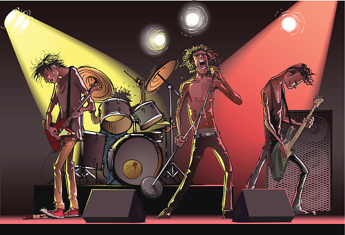 Cartoon of a rock band on stage