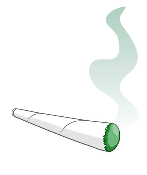cartoon of a rolled smoking cigarette. vector clip art - fossilized leaves stock illustrations