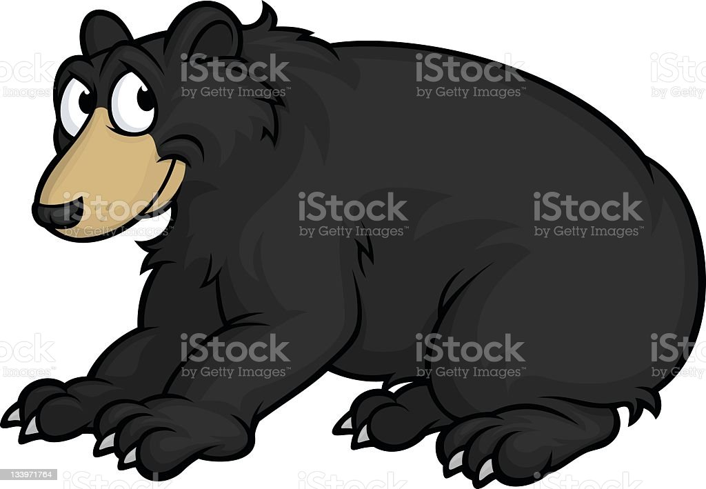 Cartoon of a smiling black bear over a white background vector art illustration