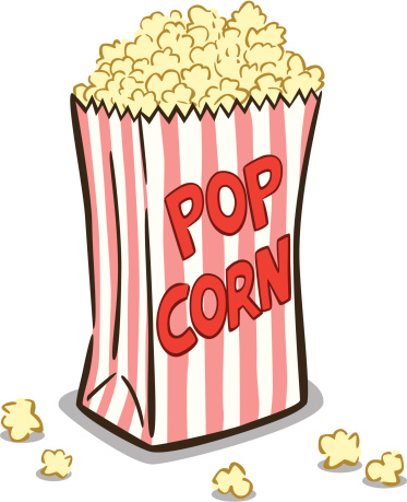 Cartoon of a striped bag of popcorn