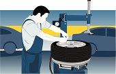 Cartoon of a tire repairman working in a garage