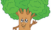 A cartoon of a tree that is alive