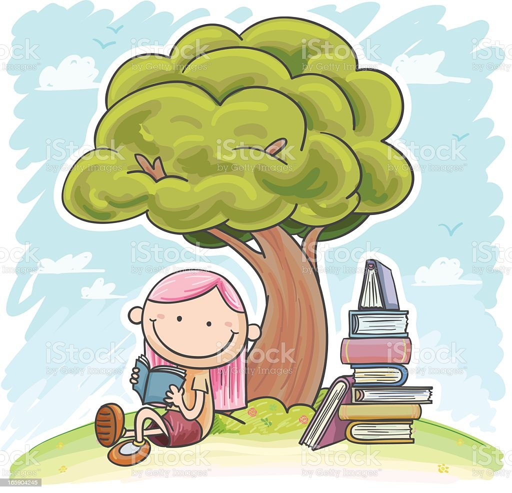 Cartoon of a young girl with pink hair reading under a tree royalty-free stock vector art