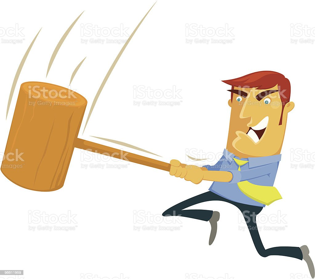 Cartoon of an angry man swinging a mallet - Royalty-free Adult stock vector