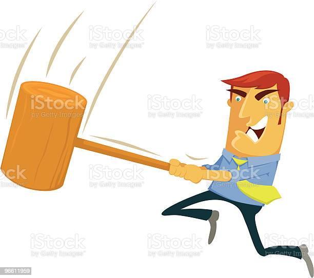 Cartoon Of An Angry Man Swinging A Mallet-vektorgrafik och fler bilder på Affärsman