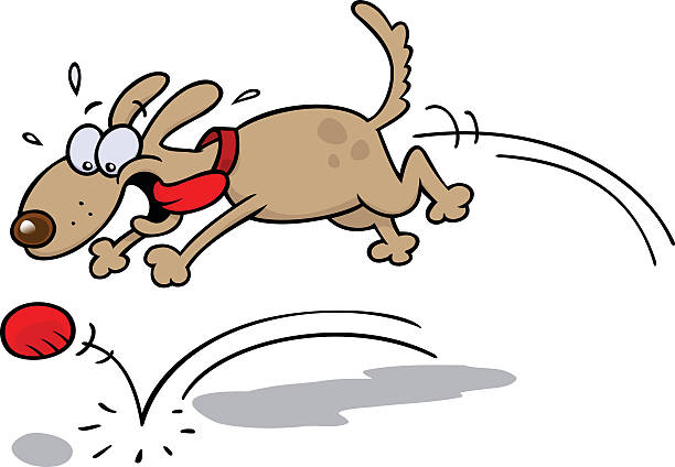 Cartoon of an excited dog chasing a red ball vector art illustration