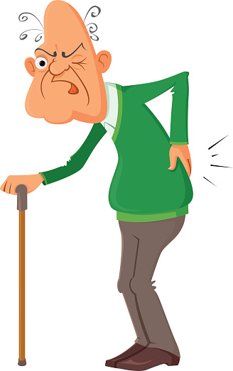 A Cartoon Of An Old Man Holding His Back Stock ...