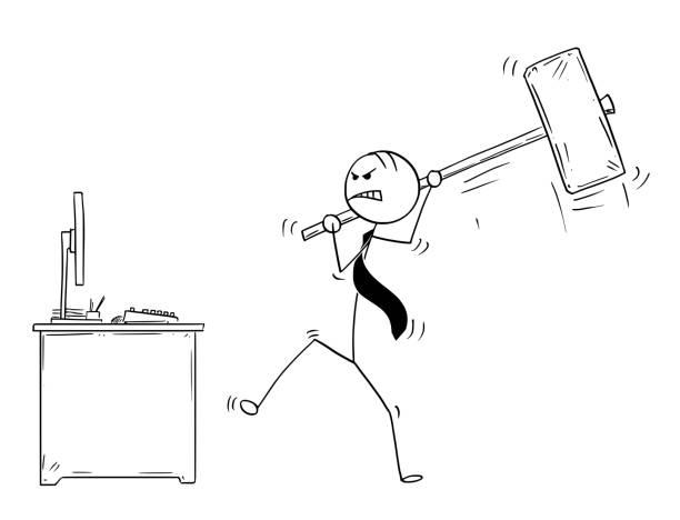 Royalty Free Broken Computer Virus Cartoon Clip Art
