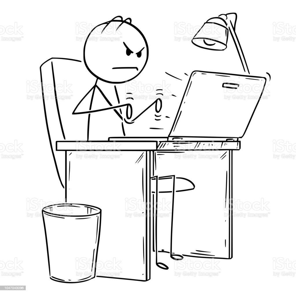 Karikatur Von Wutenden Mann Oder Geschaftsmann Arbeiten Oder Tippen