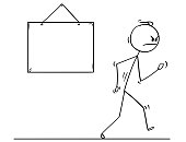 Cartoon of Angry Man Walking From Empty Sign