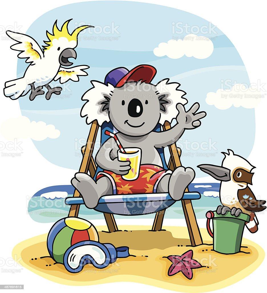 Cartoon of Aussie koala on beach vector art illustration