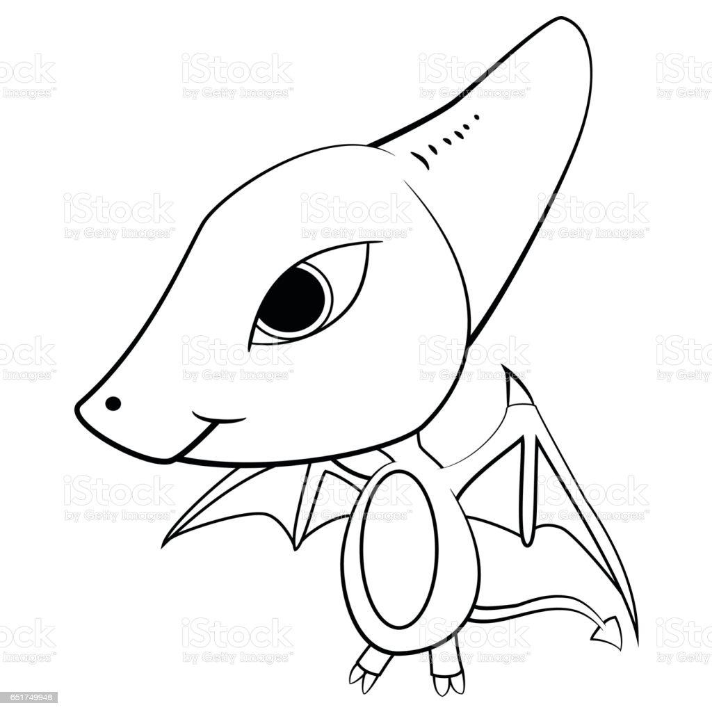 cartoon of baby pterodactyl dinosaur stock vector art 651749948