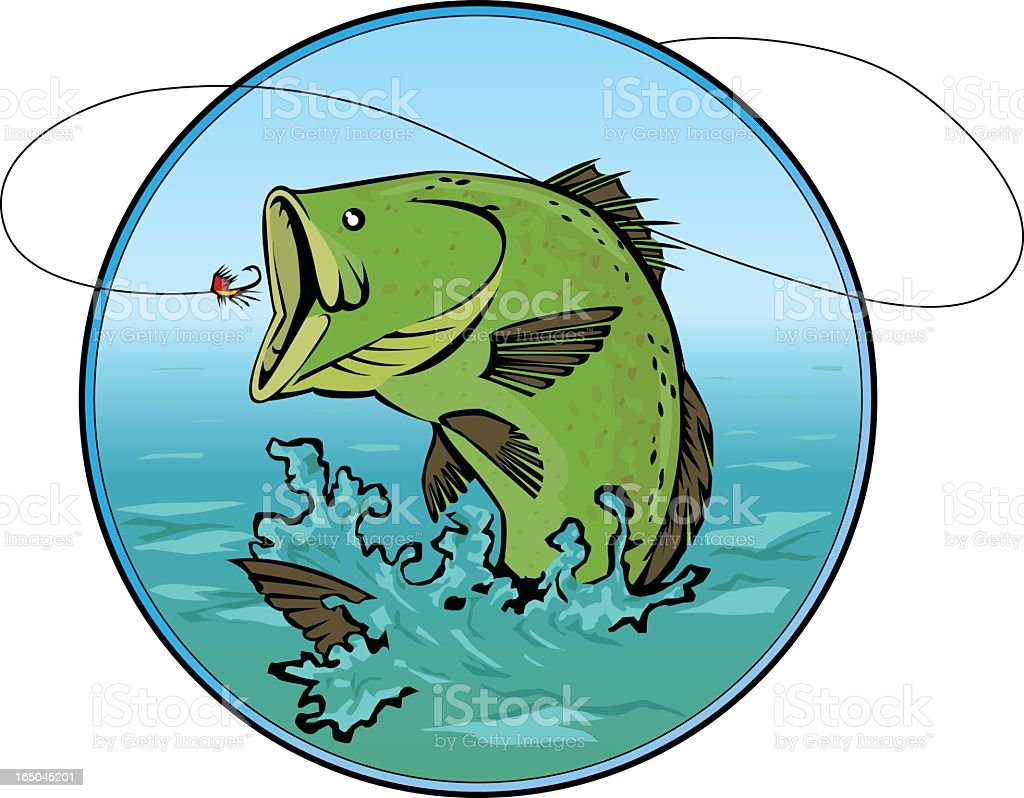 Cartoon of bass swallowing bait vector art illustration