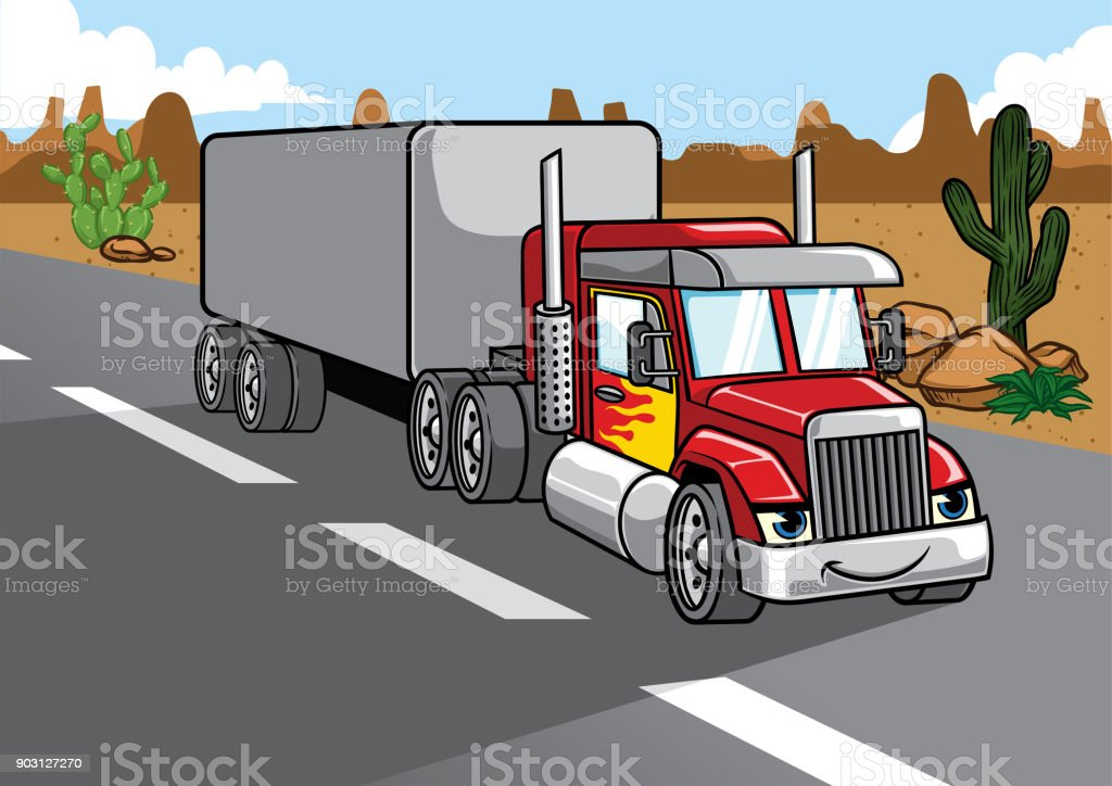 cartoon of big truck vector art illustration
