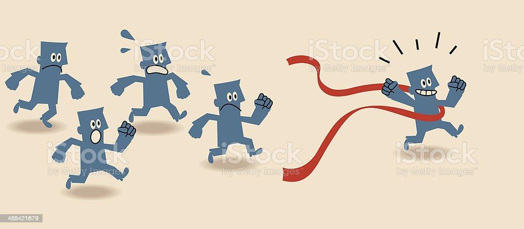 Cartoon of blue people running and winning a race vector art illustration